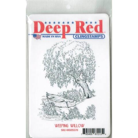 Deep Red Stamps Weeping Willow Rubber Cling Stamp - 3 x 4
