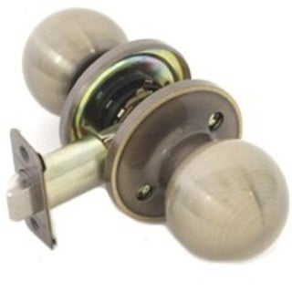 Mintcraft T3830V 6-Way Adjustable Latch Passage Knob Lockset, Antique Brass
