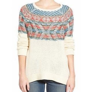 Hinge NEW White Ivory Womens Size Medium M Tunic Knit Fair Isle Sweater