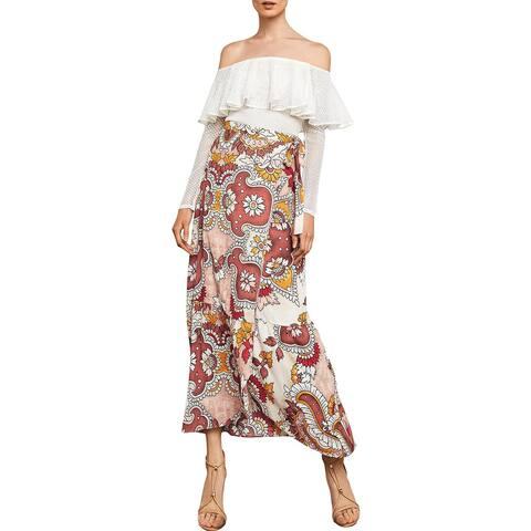 BCBG Max Azria Womens Wrap Skirt Floral Print High Rise