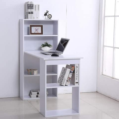 HomCom White 47-inch Compact Computer Crafting Hobby Desk Bookcase