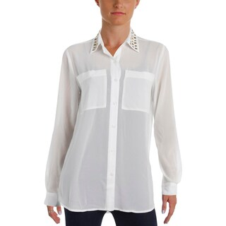 MICHAEL Michael Kors Womens Button-Down Top Studded Collar Sheer