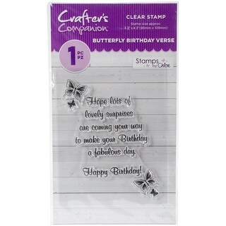 Crafter's Companion Stamps By Chloe Clear Stamps-Butterfly Birthday Verse