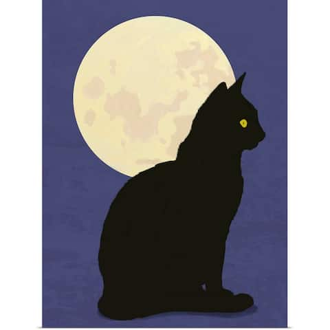 """Black cat and moon graphic hand painted illustration"" Poster Print"