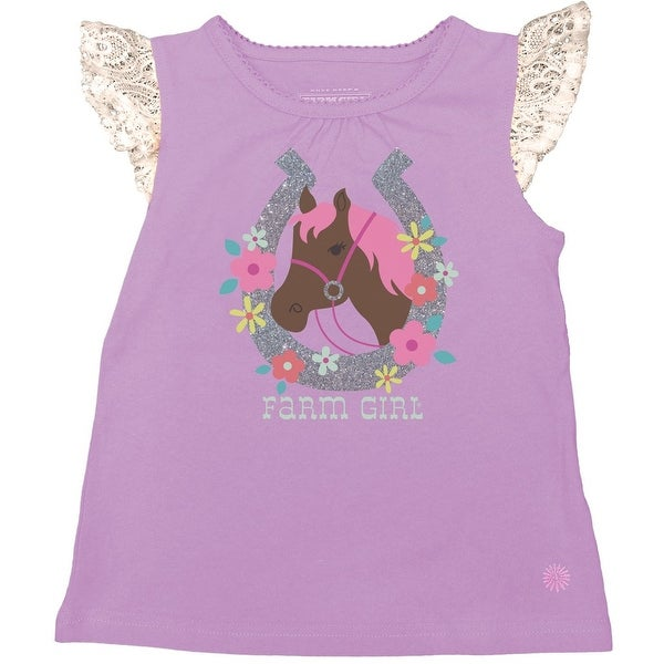 Farm Girl Western Shirt Girls Horse Horseshoe S/S Orchid