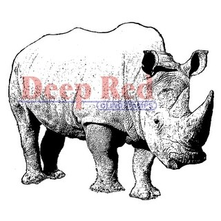 """Deep Red Cling Stamp 2""""X2""""-Rhinoceros"""