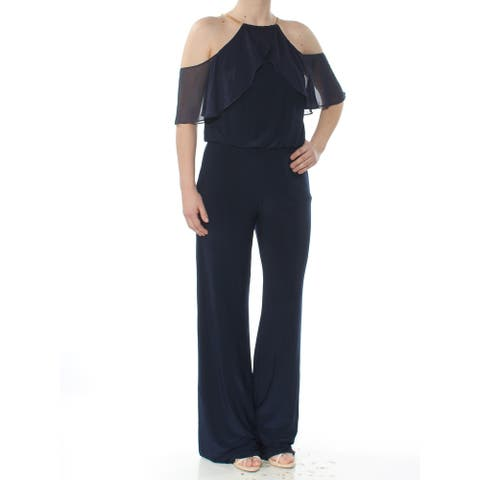 XSCAPE Womens Navy Short Sleeve Halter Wear To Work Jumpsuit Size 6