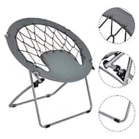 Costway Folding Round Bungee Chair Steel Frame Outdoor Camping Hiking Garden Patio