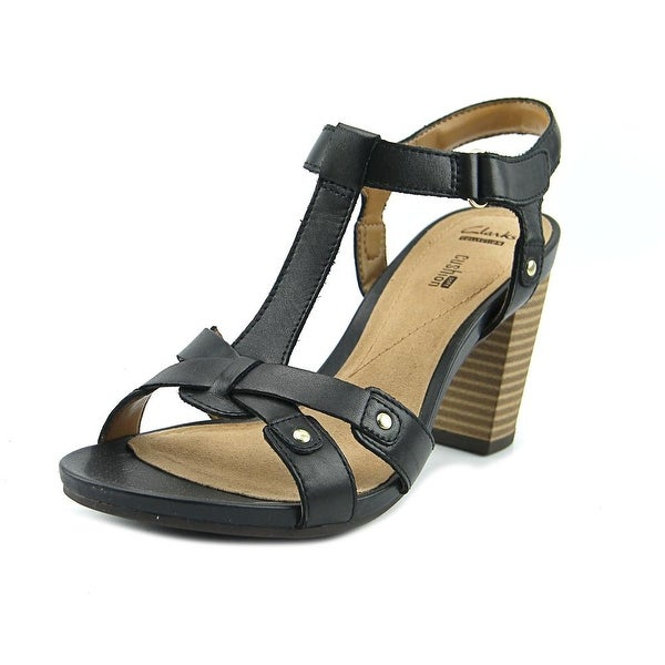 Clarks Banoy Valtina Women Open Toe Leather Black Sandals