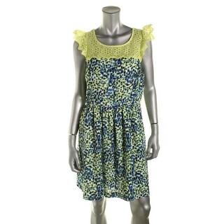 Kensie Womens Juniors Lace Trim Printed Casual Dress