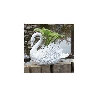 """15"""" Distressed White Swan Outdoor Garden Planter Decoration"""