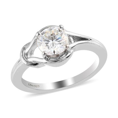 Shop LC Platinum Over 925 Silver Moissanite Solitaire Ring Ct 0.8