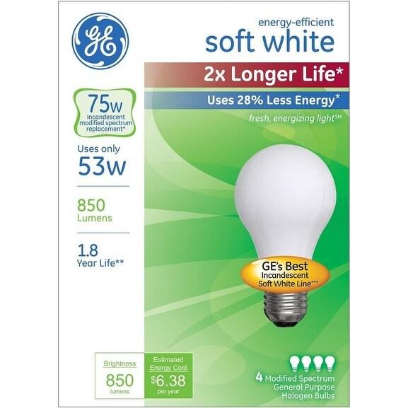 Ge Lighting 70335 Halogen Light Bulb Soft White 53 Watts 4 Pack