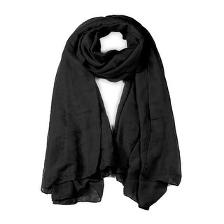 Soft Lightweight Long Scarves With Solid Color Shawl For Women Men Black