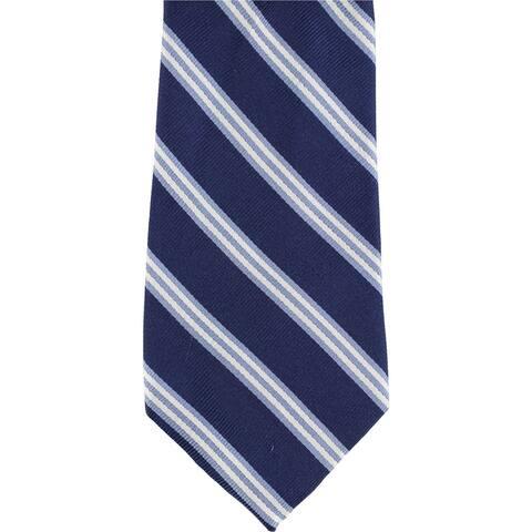 Club Room Mens Stripe Self-tied Necktie, blue, One Size - One Size