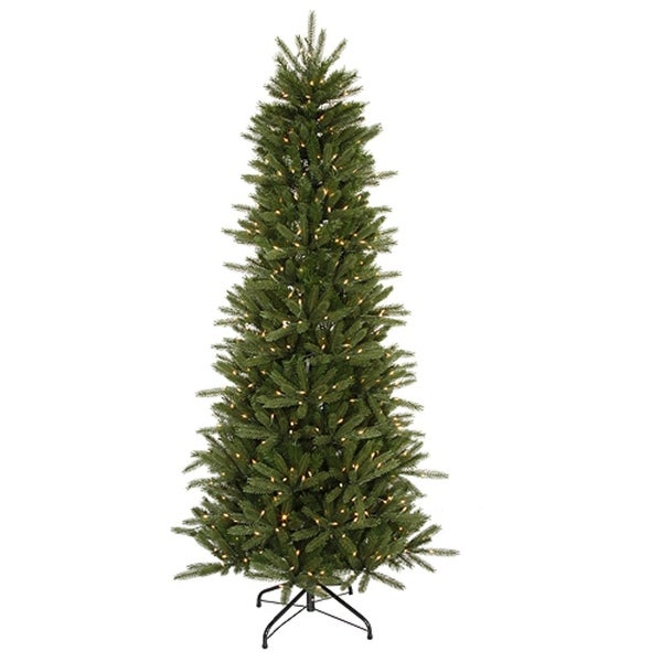 12' Pre-Lit Slim Vermont Fir Instant Shape Artificial Christmas Tree - Clear - green