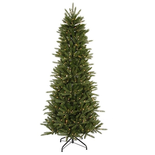 4.5' Pre-Lit Slim Vermont Fir Instant Shape Artificial Christmas Tree - Clear - green