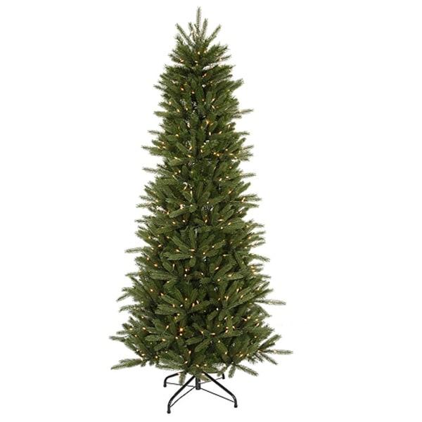 9.5' Pre-Lit Slim Vermont Fir Instant Shape Artificial Christmas Tree - Clear - green