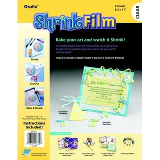 Grafix Inkjet Shrink Film, 8-1/2 X 11 in, Clear, Pack of 6