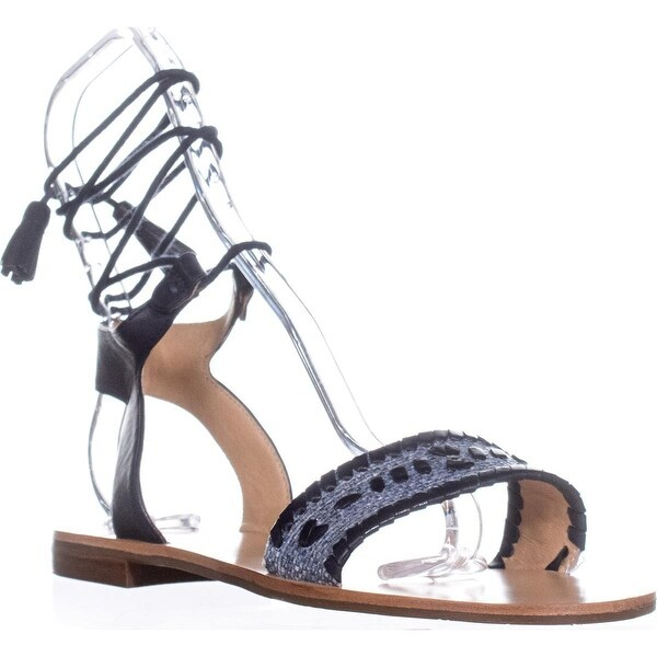 Jack Rogers Tate Raffia Dress Sandals, Blue/Midnight