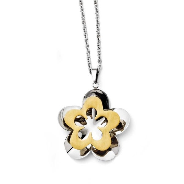 Chisel Stainless Steel Polished & Brushed Yellow IP-plated Flower Necklace (2 mm) - 20 in