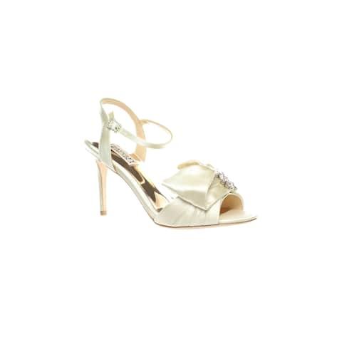 Badgley Mischka Womens Samantha Ivory Ankle Strap Heels Size 7
