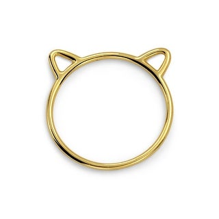 Bling Jewelry Gold Plated Cat Ears Kitty Silhouette 925 Silver Midi Ring