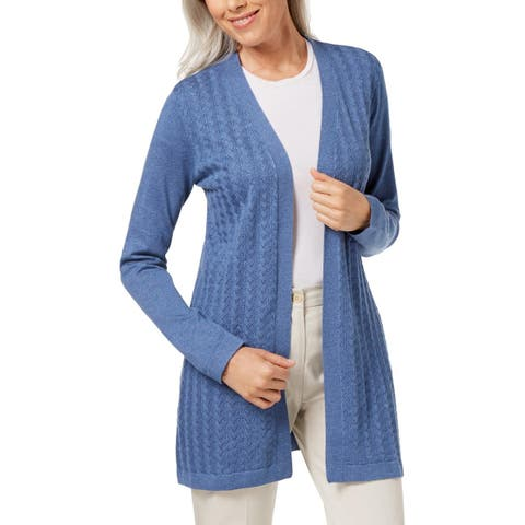 Karen Scott Womens Petites Cardigan Sweater Knit Open