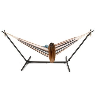 Belleze Double Hammock Space Saving Steel Stand with Portable Carrying Bag, Desert Moon
