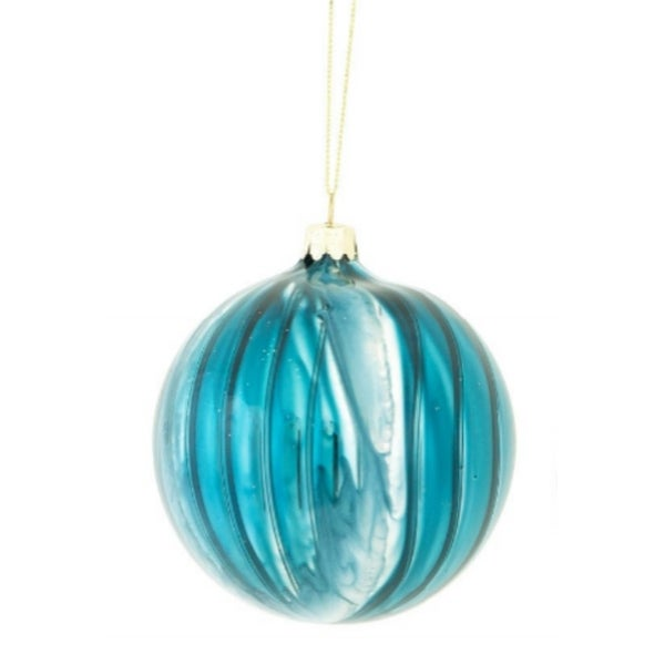 "Winter Light Sea Blue Ribbed Glass Ball Christmas Ornament 3.75"" (95mm)"