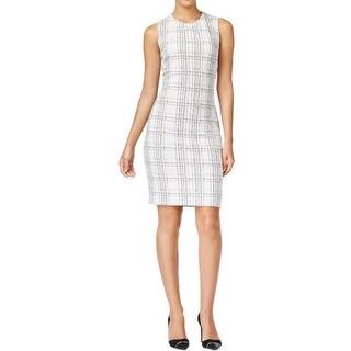 Calvin Klein Womens Wear to Work Dress Textured Plaid
