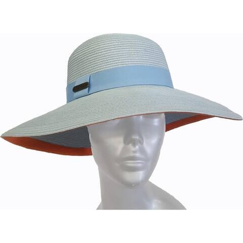 Women's Toyo straw floppy fedora braided summer wide brim hat