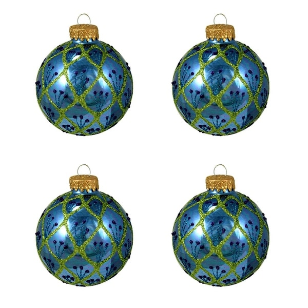 "4ct Shiny Blue Peacock Glittered Glass Ball Christmas Ornaments 2.5"" (65mm)"