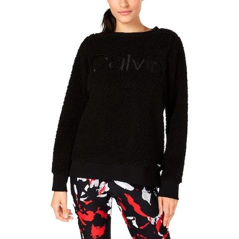 Calvin Klein Performance Womens Sweatshirt Faux-Fur Crewneck