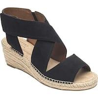 Rockport Women's Cobb Hill Kairi X Strap Wedge Sandal Black Leather