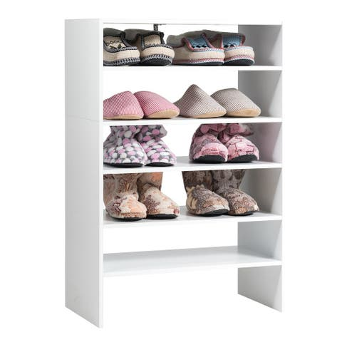3PCS Stackable Shoe Rack 24-Inch Horizontal Organizer 2-tier Storage Shelf White