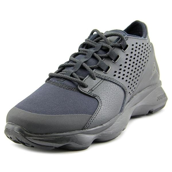Jordan Flow Men Round Toe Leather Black Basketball Shoe