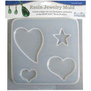 "Hearts & Stars - 4 Cavity - Resin Jewelry Mold 6.5""X7"""