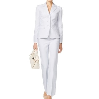 Le Suit NEW Blue Powder Women's Size 18 Three-Button Pant Suit Set