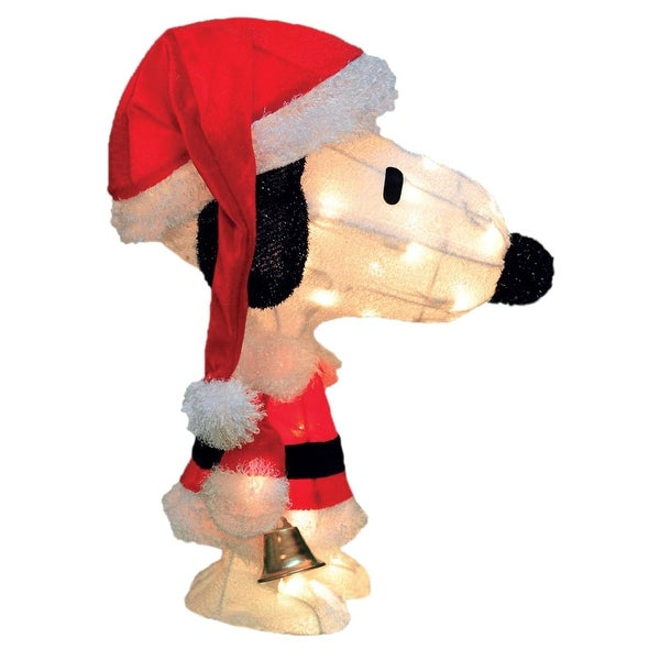"""18"""" Pre-Lit Peanuts Soft Tinsel Santa Claus Snoopy Christmas Outdoor Decoration - Clear Lights - WHITE"""