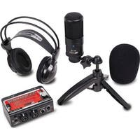 Studio recording kit w/ USB audio interface, condenser mic, & studio headphones