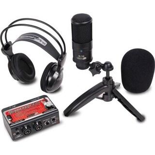 Studio recording kit w/ USB audio interface, condenser mic, & studio headphones