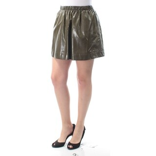 QMACK $109 Womens New 9672 Gray Faux Leather Mini A-Line Casual Skirt S B+B