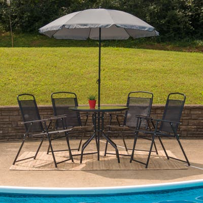 Flash Furniture Nantucket 6 Piece Patio Garden Set with Table, Umbrella and 4 Folding Chairs - Brown/Tan