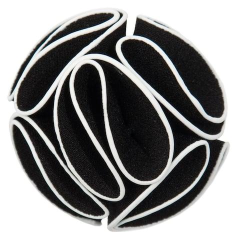 Men's Solid Color Trim Rose Flower Lapel Pin - One Size