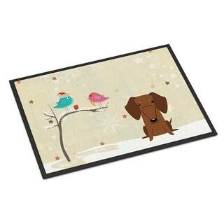 Carolines Treasures BB2602JMAT Christmas Presents Between Friends Dachshund Red Brown Indoor or Outdoor Mat 24 x 0.25 x 36 in.