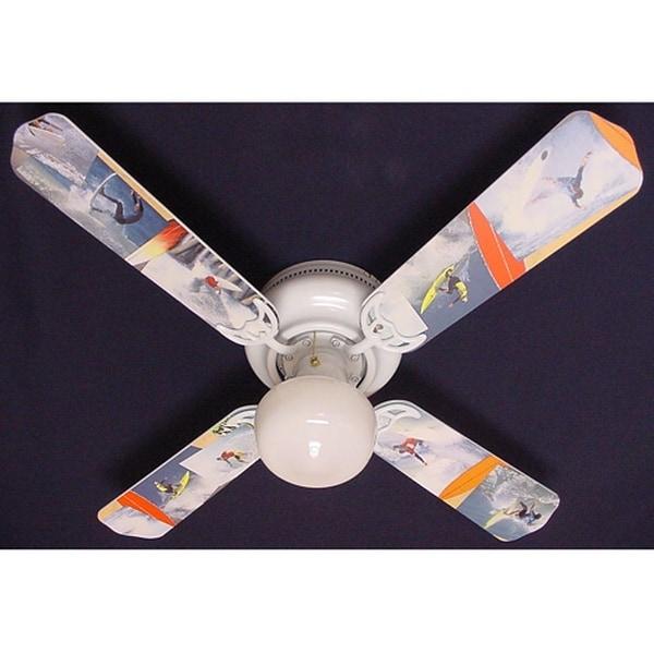 Radical Surfing Print Blades 42in Ceiling Fan Light Kit - Multi