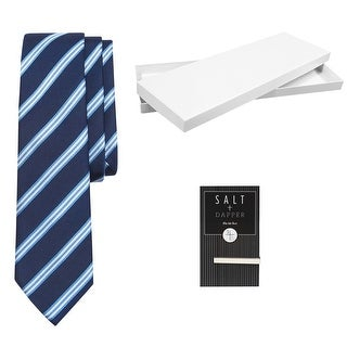 Salt & Dapper Men's Woven Silk Luxury Tie With Tie Bar & Giftbox - Navy Stripe - One size