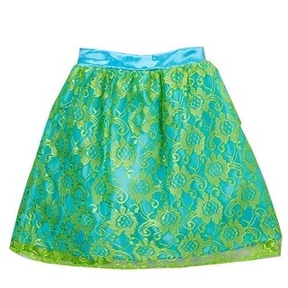 Girls Blue Green Floral Lace Overlay Trendy Skirt 7-10
