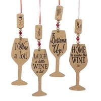 "Pack of 24 Wooden Cork Wine Glass Silhouette Christmas Ornaments 6"" - brown"